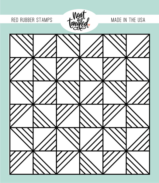Quilted Background Red Rubber Cling Stamp