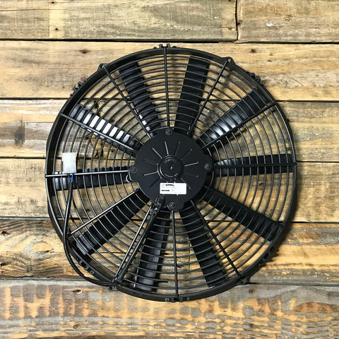 "SPAL 16"" Straight Blade Low Profile 12V Puller Fan."