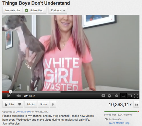 Jenna Marbles loves getting White Girl Wasted.