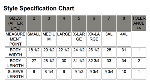 Natty Boh Bottle Cap (Lagoon Blue) / Shirt Size Chart