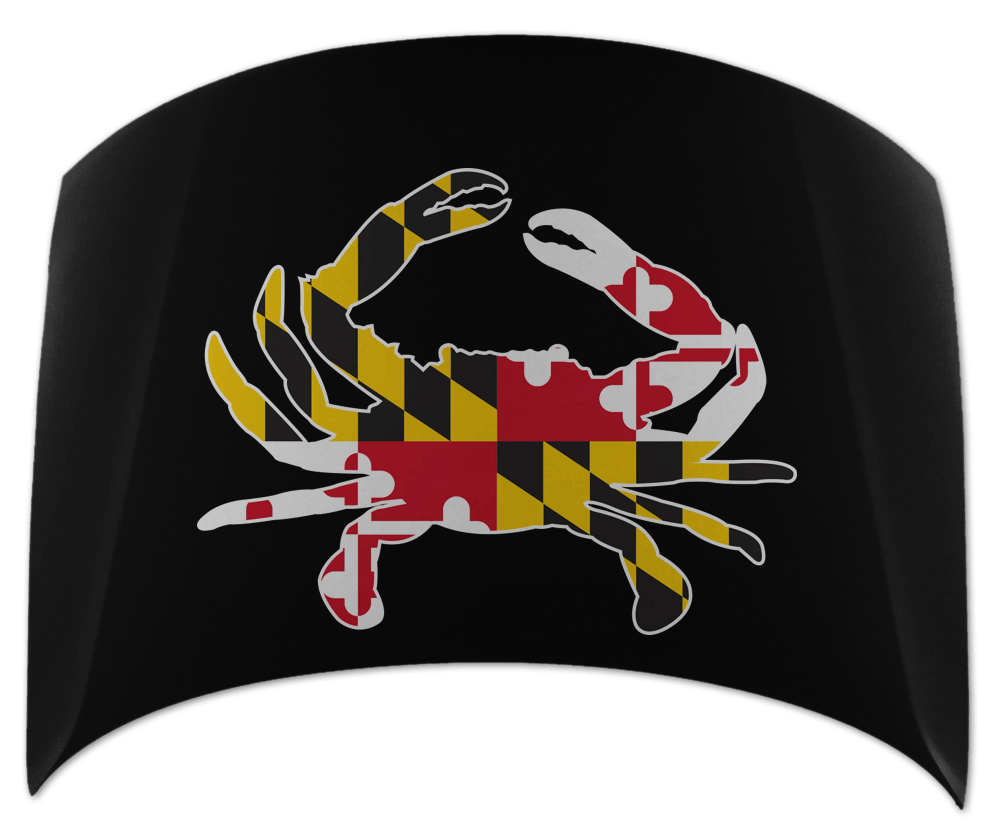 Maryland Flag Crab (Black) / Car Hood Cover