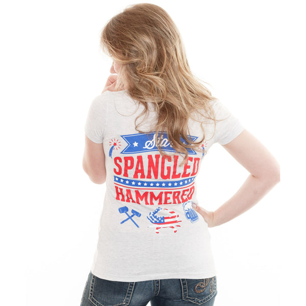 Star Spangled Hammered (Heather White) / Ladies Deep V-Neck Shirt
