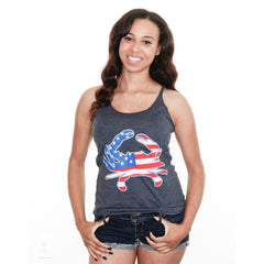American Flag Crab (Vintage Navy) / Ladies Racerback Tank - Route One Apparel