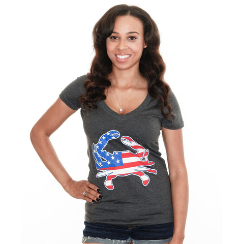 American Flag Crab (Charcoal Grey) / Ladies Deep V-Neck Shirt - Route One Apparel