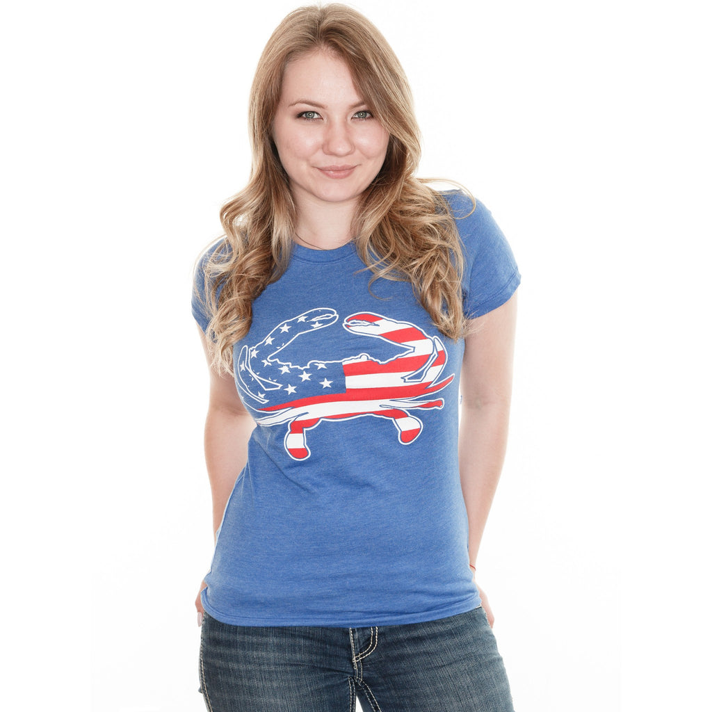 American Flag Crab (Vintage Royal) / Ladies Shirt - Route One Apparel