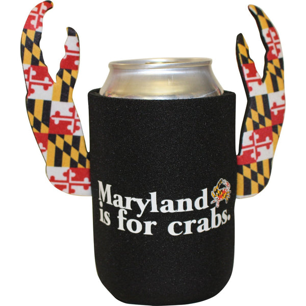 Maryland Is For Crabs (Black w/ Maryland Claws) / Crab Claw Koozie