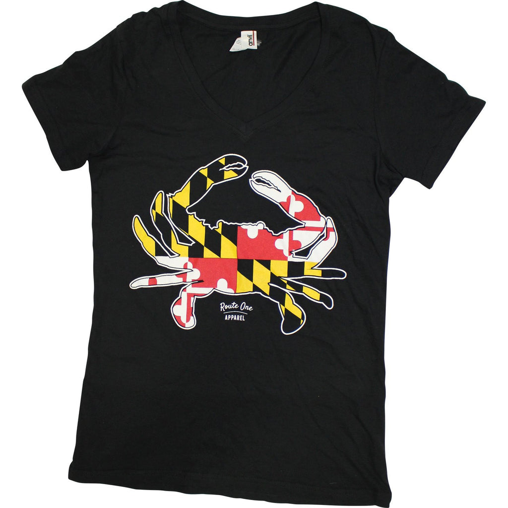 Maryland Full Flag Crab (Black) / Ladies V-Neck Shirt