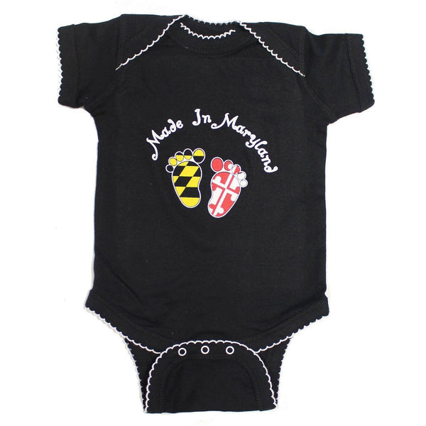 Made in Maryland (Black w/ White Outline) / Baby Onesie