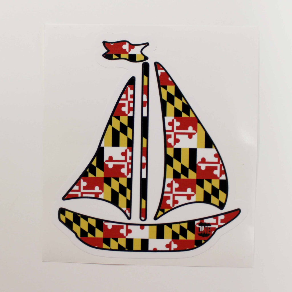 Maryland Flag Sailboat / Sticker