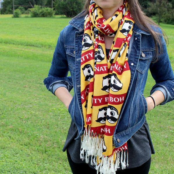 Natty Boh Logo Red & Gold Stripe / Scarf