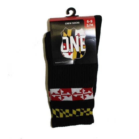 Double Calvert Stripe (Black) / Crew Socks - Route One Apparel