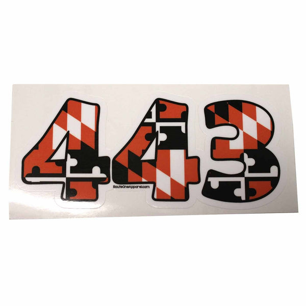 """443"" Baltimore Baseball Black & Orange Maryland Flag / Sticker - Route One Apparel"