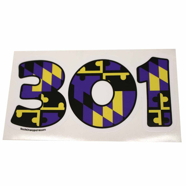 """301"" Baltimore Football Purple & Gold Maryland Flag / Sticker - Route One Apparel"