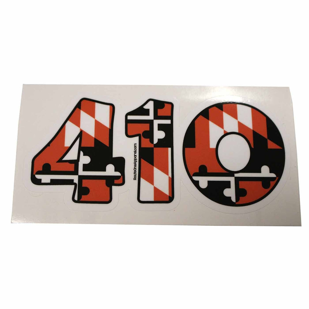 """410"" Baltimore Baseball Black & Orange Maryland Flag / Sticker - Route One Apparel"