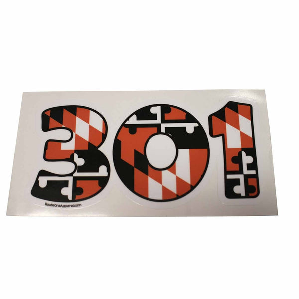 """301"" Baltimore Baseball Black & Orange Maryland Flag / Sticker - Route One Apparel"