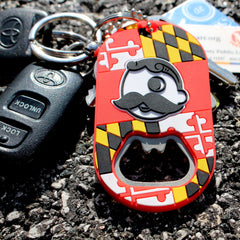 Maryland Flag Wraparound with Natty Boh Logo / Key Chain w/ Bottle Opener