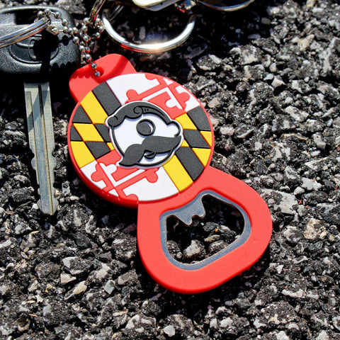 Maryland Flag & Natty Boh Logo (Red) / Key Chain w/ Bottle Opener