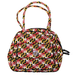 Quilted Maryland Flag / Turn Lock Satchel Bag