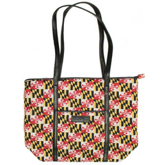 Quilted Maryland Flag / Black Trimmed Tote Bag