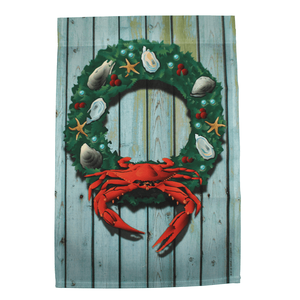Coastal Holiday Crab Wreath / House Flag