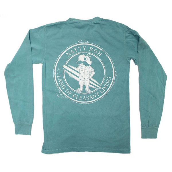 Natty Boh Surfer Dude Land of Pleasant Living (Seafoam) / Long Sleeve Shirt