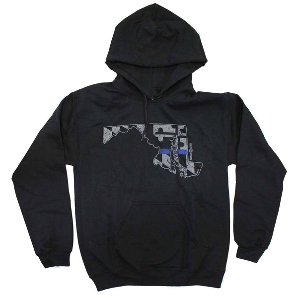 Blue Line State of Maryland (Black) / Hoodie - Route One Apparel