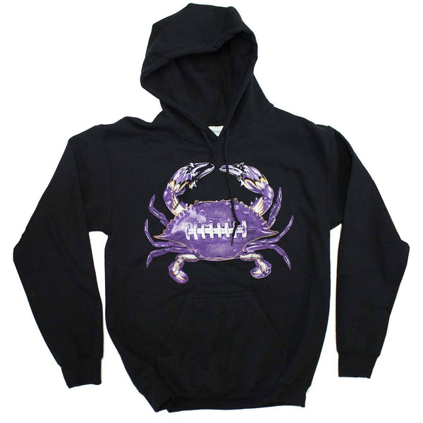 Baltimore Football Home Team Crab *Front Print* (Black) / Hoodie - Route One Apparel