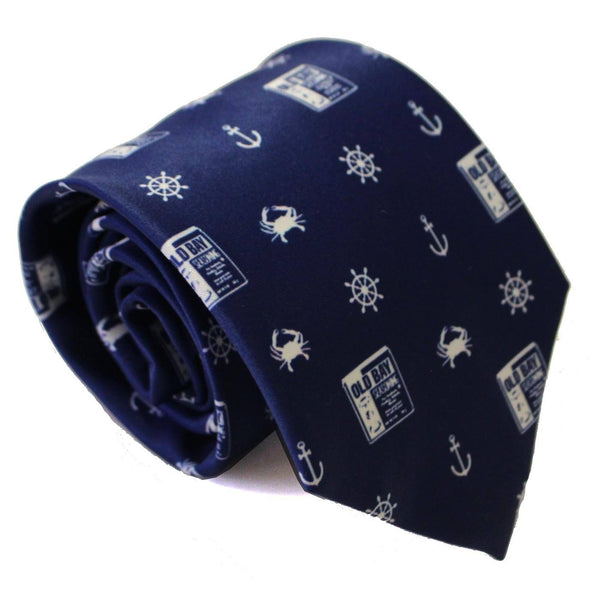 Nautical Crab, Anchor & Old Bay (Navy) / Tie