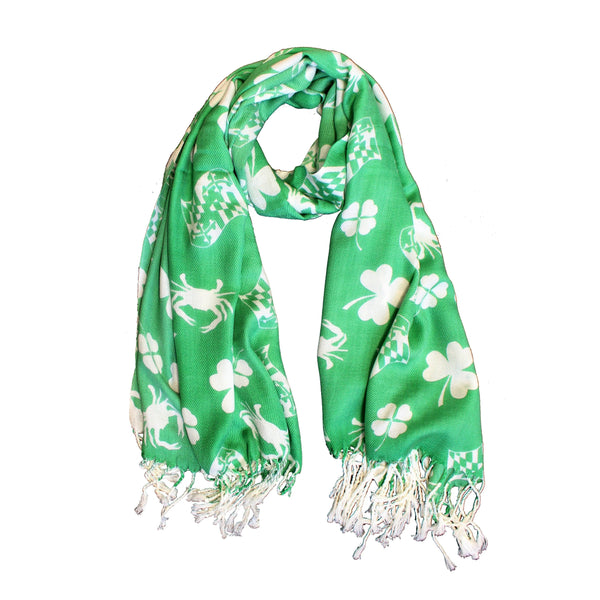 Irish Shamrock, Crab, and Maryland Flag (Green) / Scarf