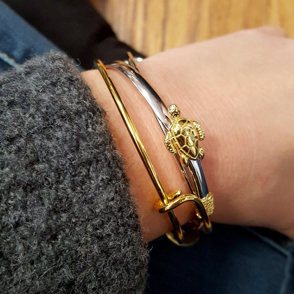 Nautical Turtle Sterling Silver Amp Gold Plated Clasp Bracelet Route One Apparel