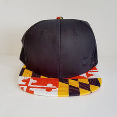Basic Maryland Flag Brim (Black) / Flat Trucker Hat - Route One Apparel