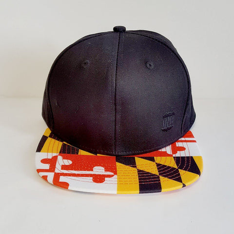 Basic Maryland Flag Brim (Black) / Snapback Hat - Route One Apparel