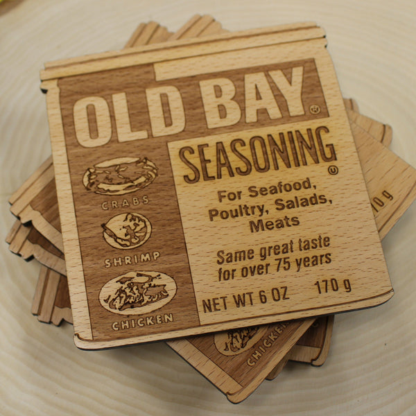 Old Bay Can (2-D) / Wooden Coaster