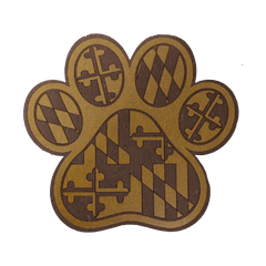 Maryland Flag Paw Print / Wooden Coaster