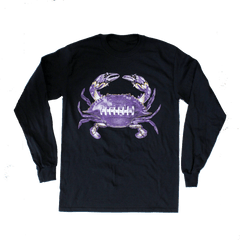 Baltimore Football Home Team Crab *Front Print* (Black) / Long Sleeve Shirt - Route One Apparel