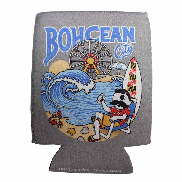 Bohcean City On The Beach (Grey) / Koozie - Route One Apparel