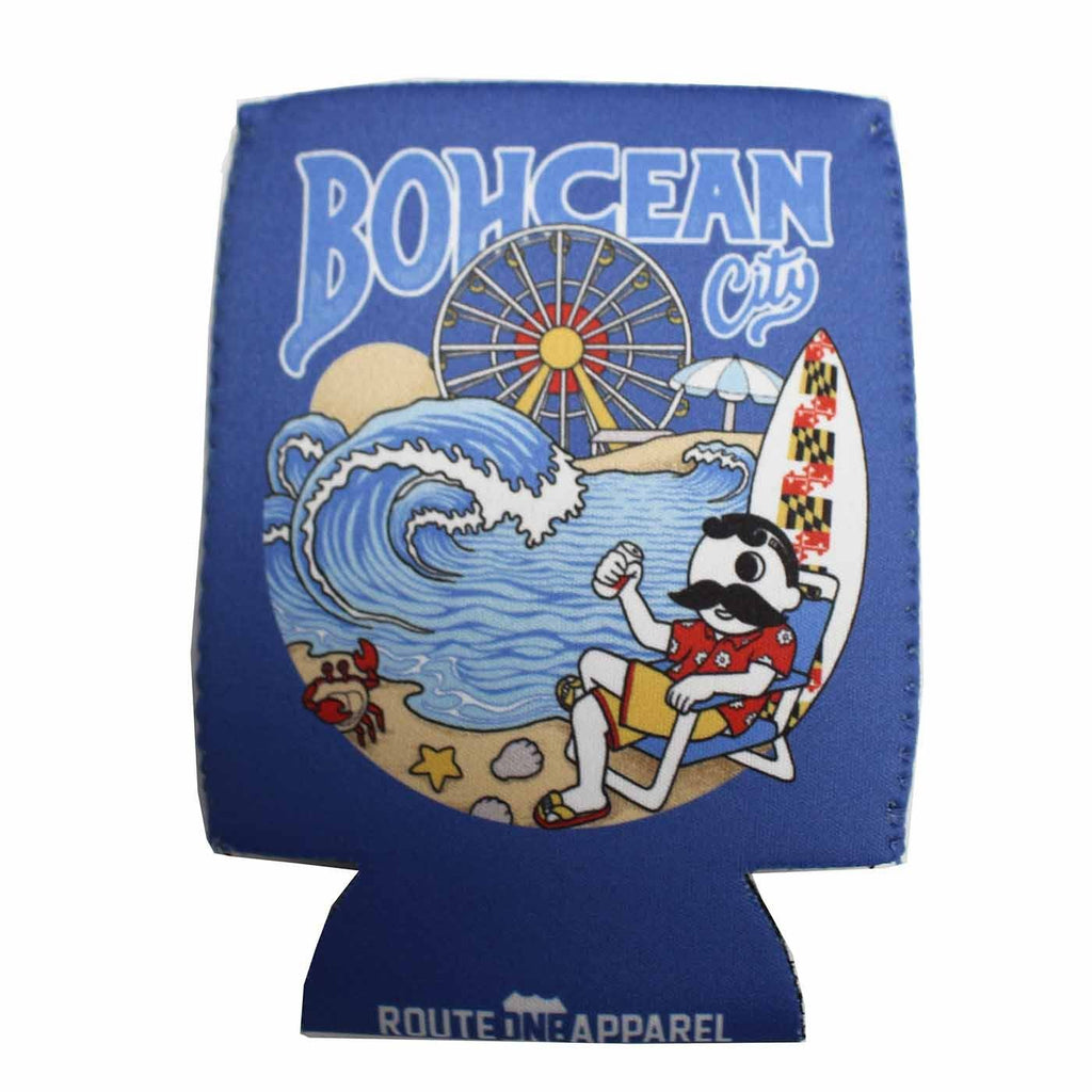 Bohcean City On The Beach (Neon Blue) / Koozie - Route One Apparel