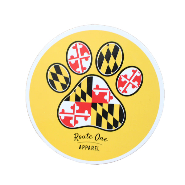 Maryland Flag Paw Print (Gold) / Cork Coaster