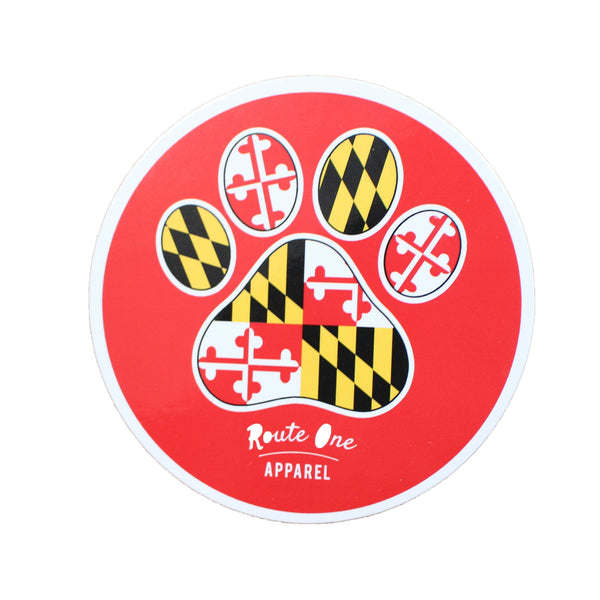 Maryland Flag Paw Print (Red) / Cork Coaster