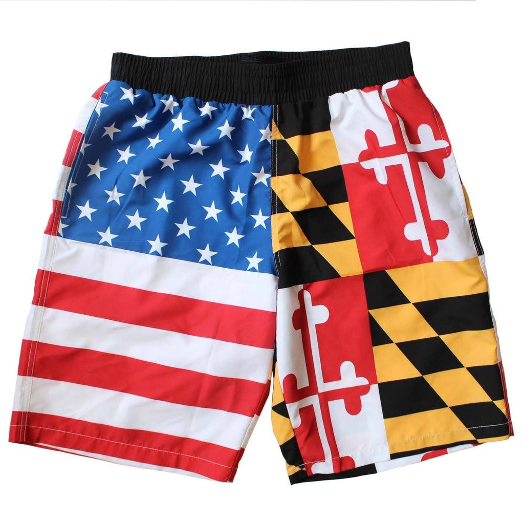 *PRE-ORDER* Maryland & American Flag / Board Shorts (Estimated Arrival: 7/5) - Route One Apparel