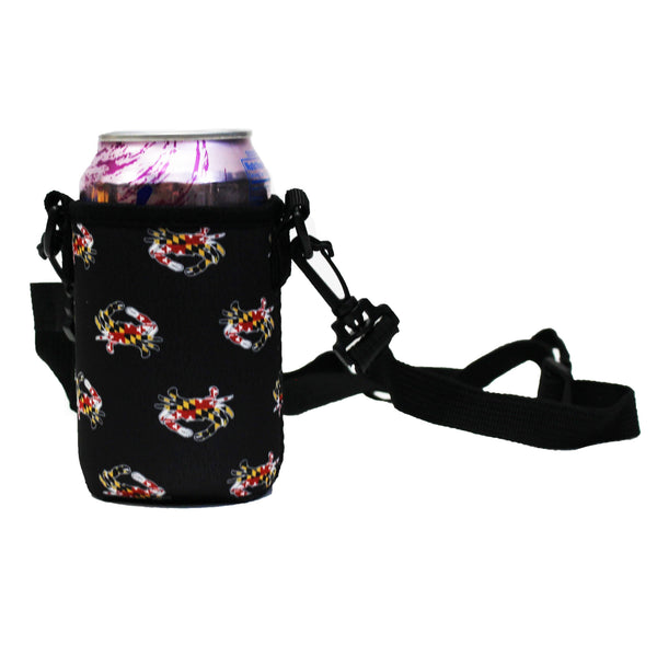 Maryland Full Flag Crab (Black) / Koozie with Strap