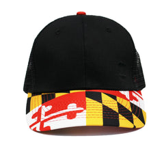 Basic Maryland Flag Brim (Black) / Baseball Trucker Hat - Route One Apparel