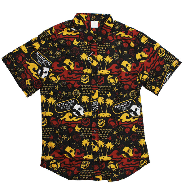 Natty Boh Beach Red & Gold (Black) / Hawaiian Shirt