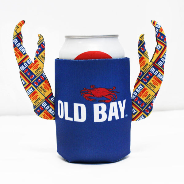 Old Bay Can Pattern (Blue) / Crab Claw Koozie