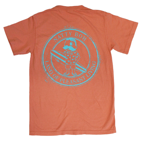 Natty Boh Surfer Dude Land of Pleasant Living (Terracotta w/ Island Blue Ink) / Shirt