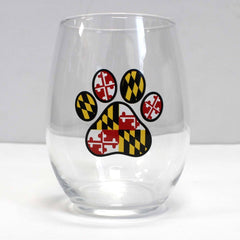 Maryland Paw Print / Stemless Wine Glass
