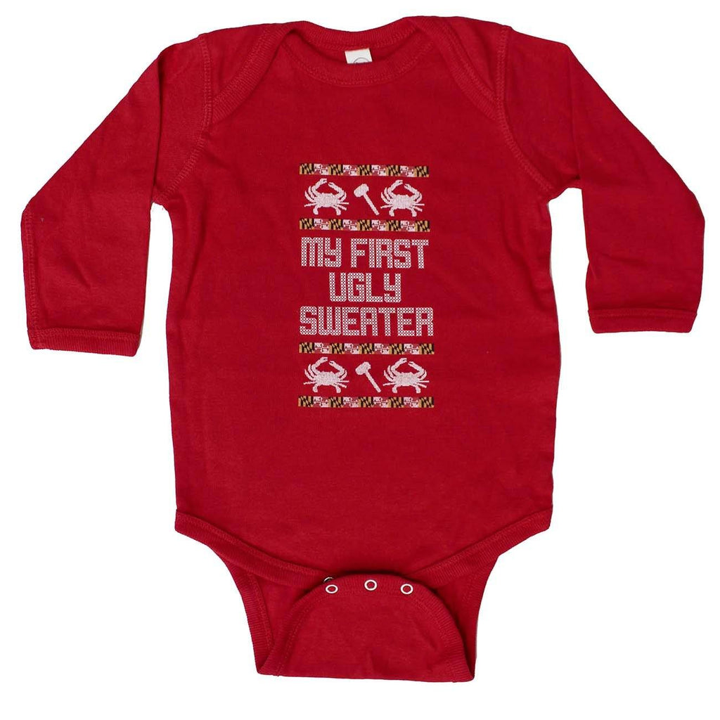 My First Ugly Sweater Long Sleeve (Red) / Baby Onesie