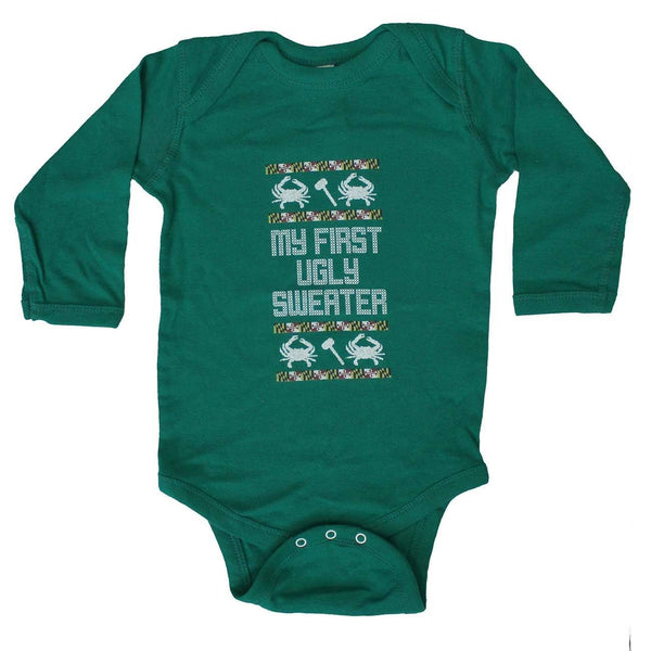 My First Ugly Sweater Long Sleeve (Green) / Baby Onesie