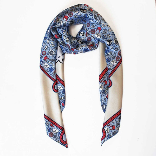 National Bohemian Nautical Boats & Bohs / Silk Scarf