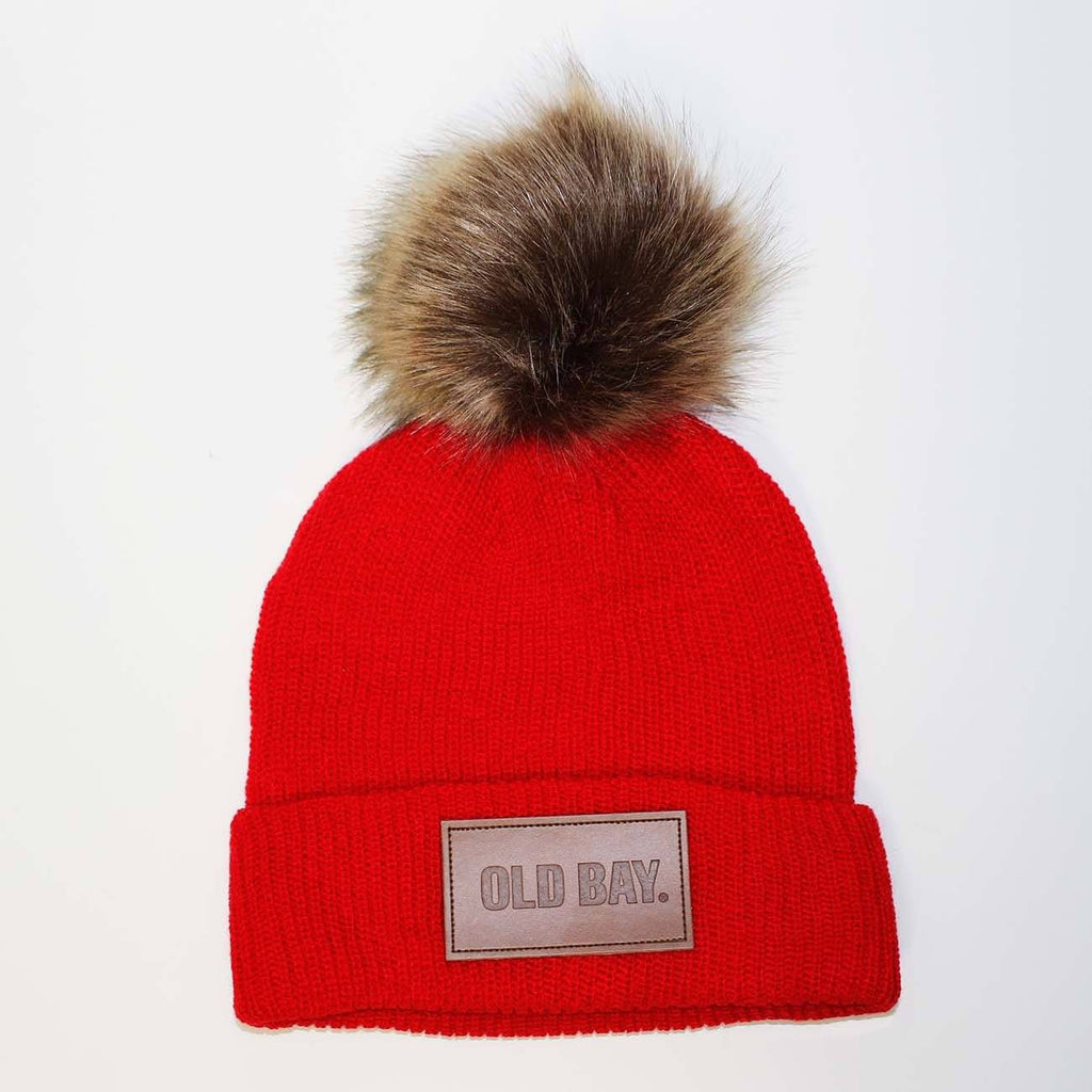 Old Bay Leather Patch (Red w/ Fur Pom) / Slouchy Knit Beanie Cap